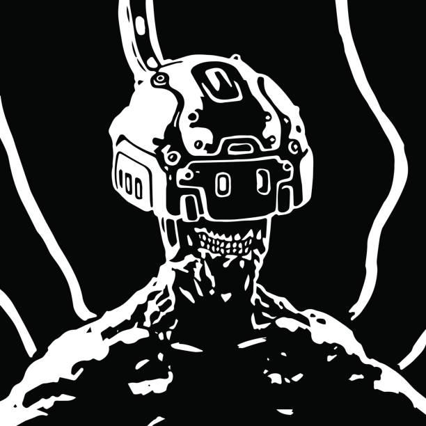 bildbanksillustrationer, clip art samt tecknat material och ikoner med hjälmen av virtuell verklighet. vektorillustration. - tron sci fi
