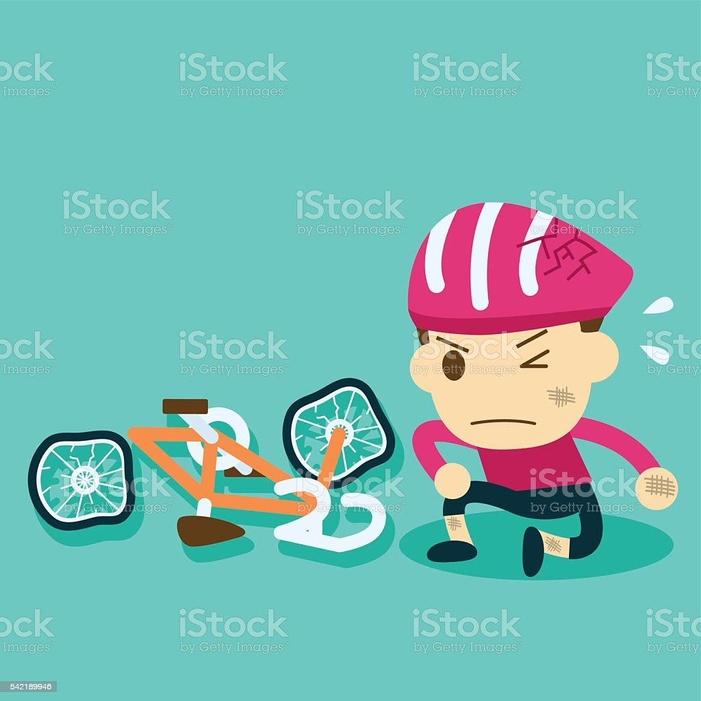 the helmet protects cyclists.bicycle accident. vector art illustration