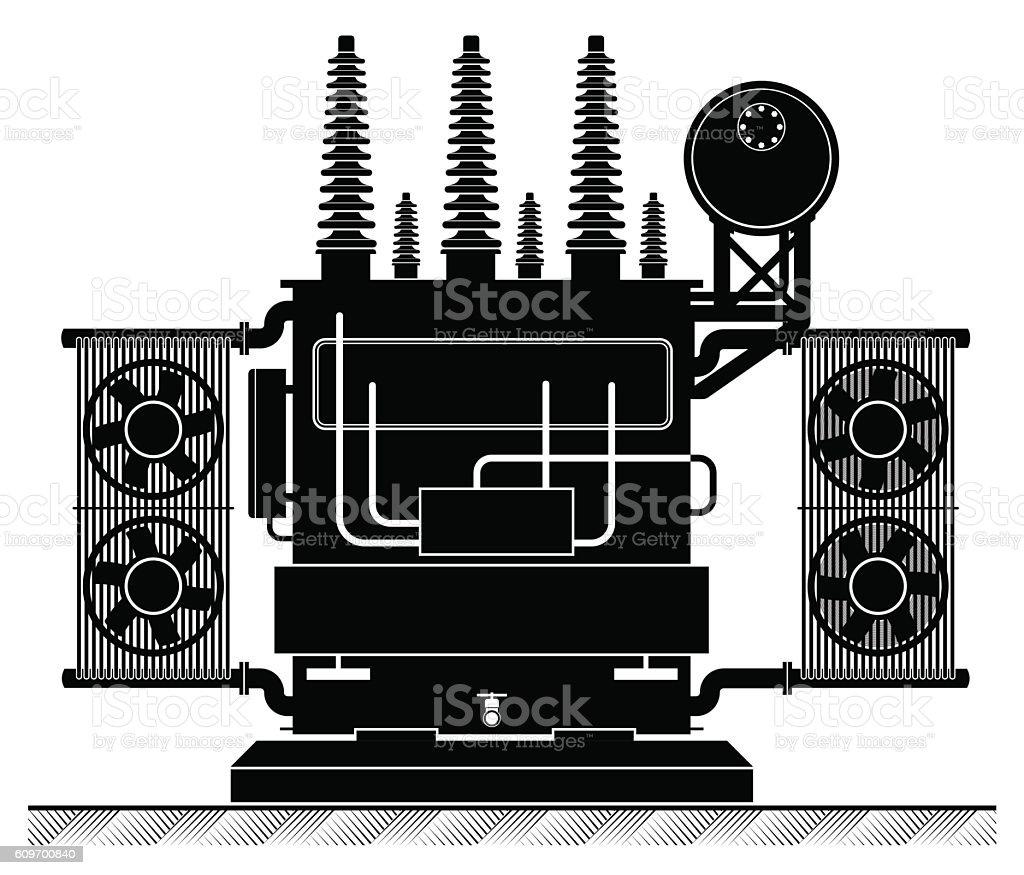 The high-transformatorel. Black and white illustration. Risk of electric vector art illustration