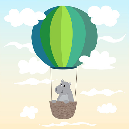 The hippo is flying in a hot air balloon. Children's vector illustration for the decoration of children's things.
