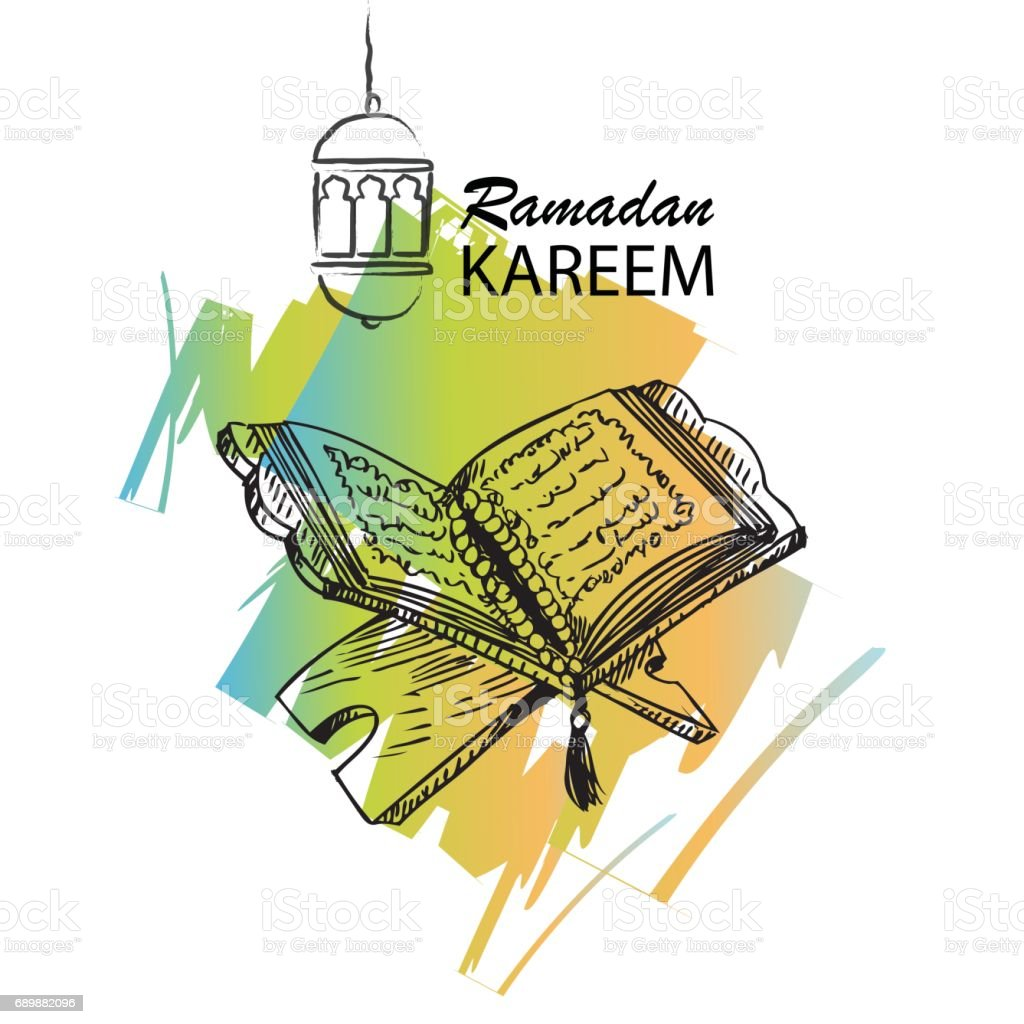 The holy book of the Koran on the stand with lettering ramadan kareem. vector art illustration