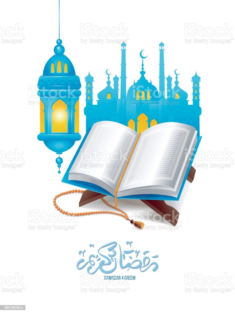 The holy book of the Quran on the stand with lamp and mosque vector art illustration