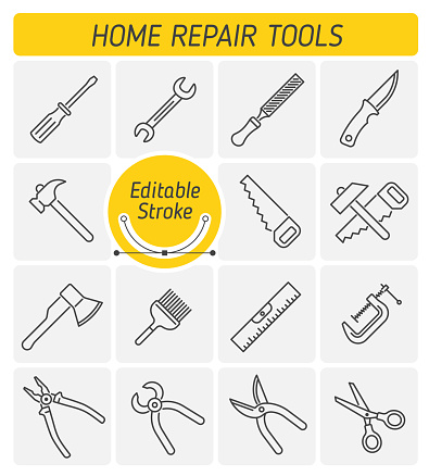 The Home Repair Tools outline vector icon set