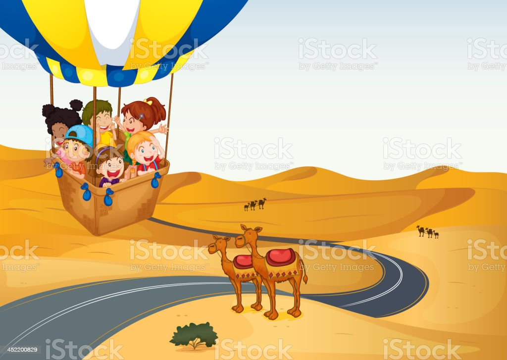 The hot air balloon with kids at  desert royalty-free the hot air balloon with kids at desert stock vector art & more images of adventure