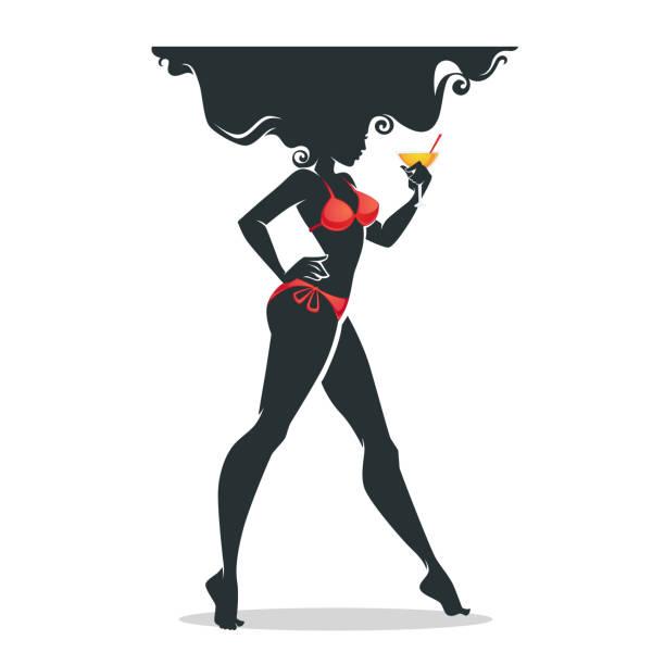 Woman With Beautiful Body In Bikini At Beach Stock Image: Best Silhouette Of Bikini Body Tanned Woman Illustrations