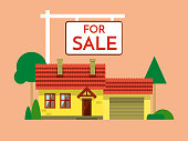 The house is sold. The house and sign in the foreground with the information. Vector illustration in flat style EPS