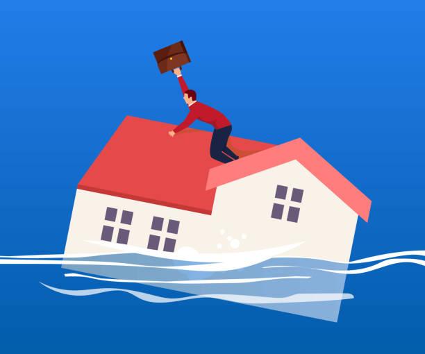 La casa se hunde en el agua - ilustración de arte vectorial