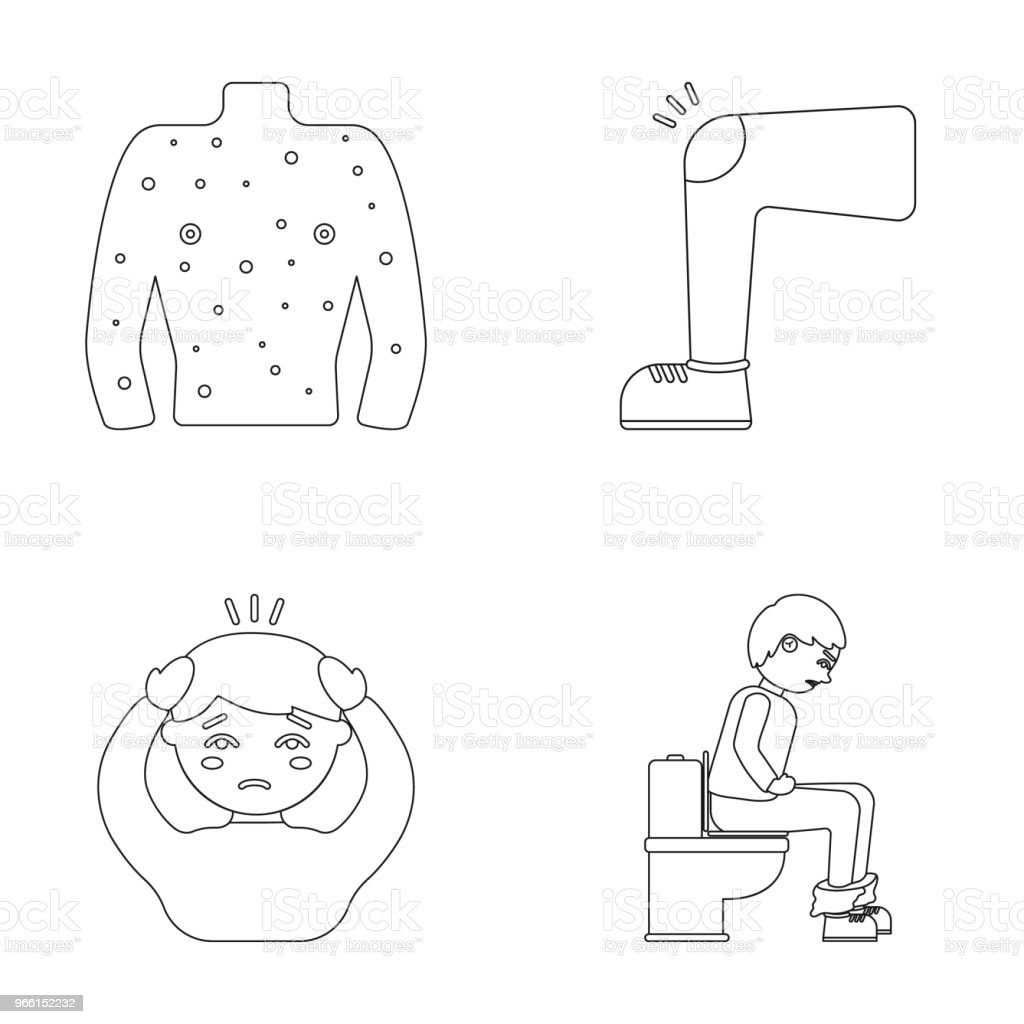The human body is covered with ulcers, boils, a red rash, a knee of a man with a bruise, a patient with a headache and asterisks, a person sitting on the toilet with stomach disease. Sick set collection icons in outline style vector symbol stock illustrat - Royalty-free Abdomen stock vector