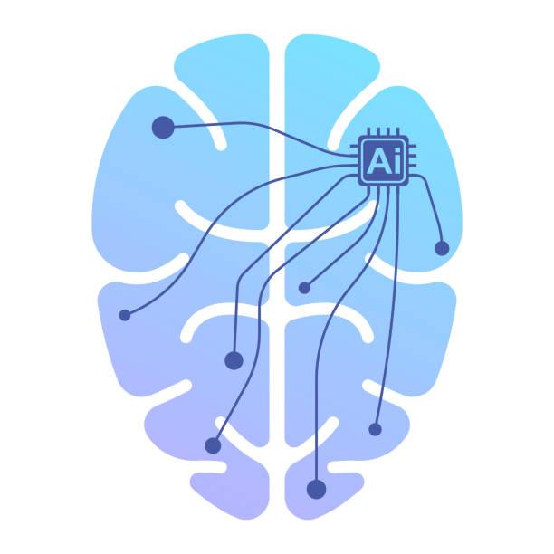 L'icône du cerveau humain sous le contrôle de l'intelligence artificielle. Illustration vectorielle isolé sur fond blanc. - Illustration vectorielle