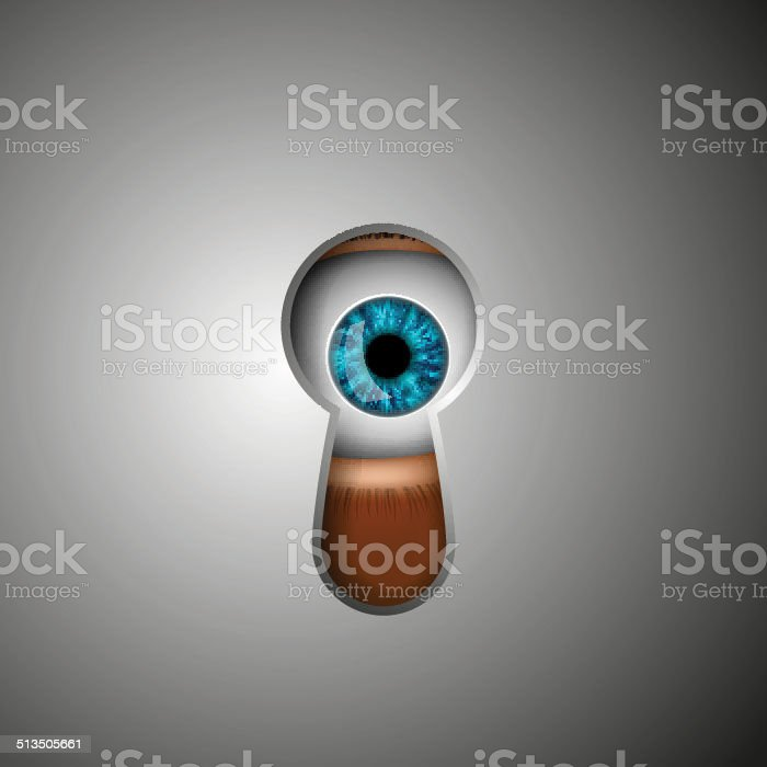 the human eye in the keyhole vector art illustration