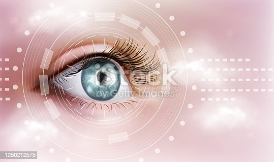 istock The human eye. Ophthalmology. Vector illustration on a pink background. 1250212575