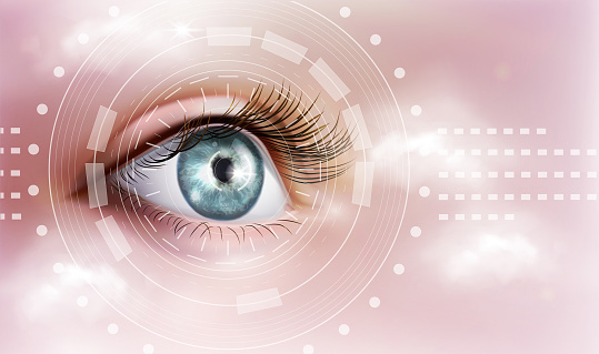 The human eye. Ophthalmology. Vector illustration on a pink background.