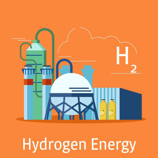illustrazioni stock, clip art, cartoni animati e icone di tendenza di the hydrogen power plant on an orange background. hydrogen energy sources concept. vector illustration. - idrogeno