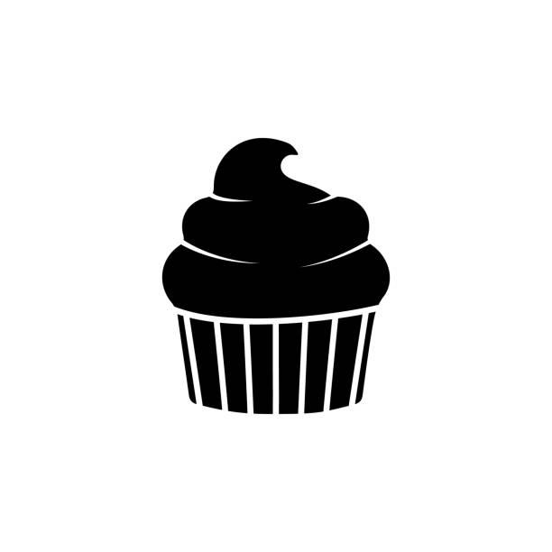 ilustrações de stock, clip art, desenhos animados e ícones de the icon of cup cake. simple flat icon illustration, vector of cup cake for a website or mobile application on white background - bolinho