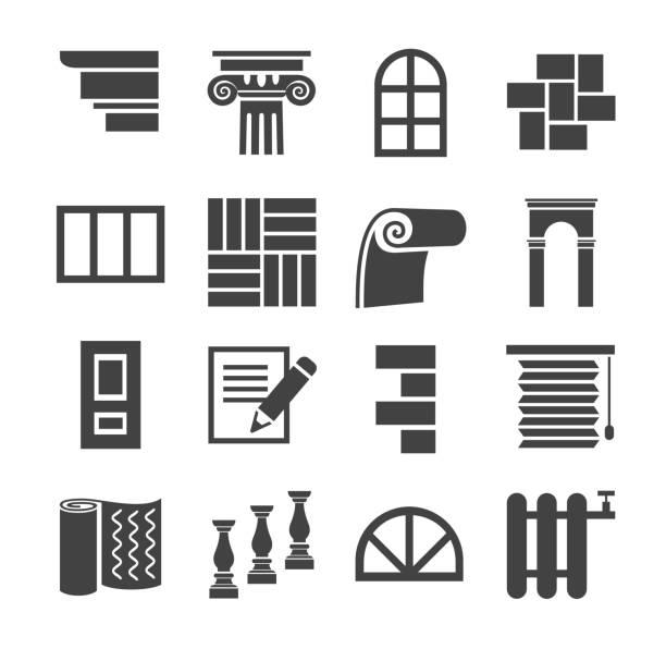 die symbole sind flache design, beenden materialien repariert. - gesims stock-grafiken, -clipart, -cartoons und -symbole