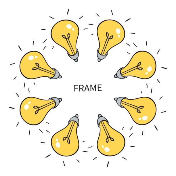illustrations, cliparts, dessins animés et icônes de le bloc ampoule d'idée. idée inattendue. ampoule incluse. - enluminure bordure