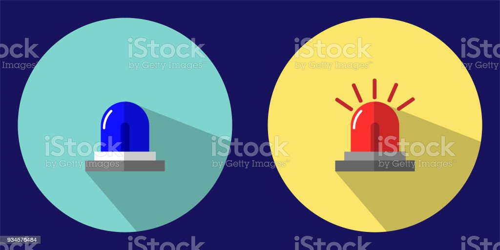 The illustration depicts an emergency blue and red emergency light icon to warn you of an emergency.  Can be used as a background wallpaper or decorate in print. vector art illustration