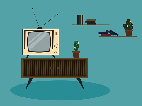 The illustration of color retro room scene