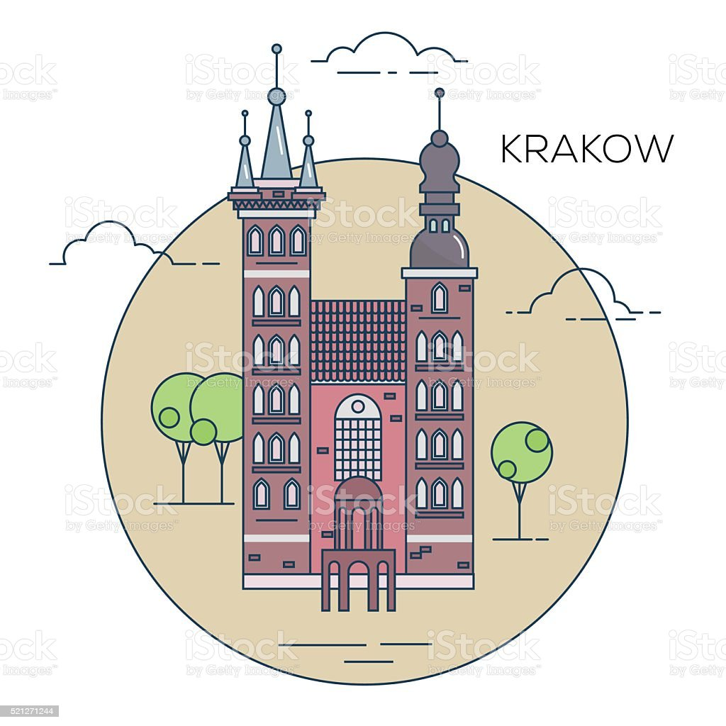 The illustration of old town in the Poland vector art illustration