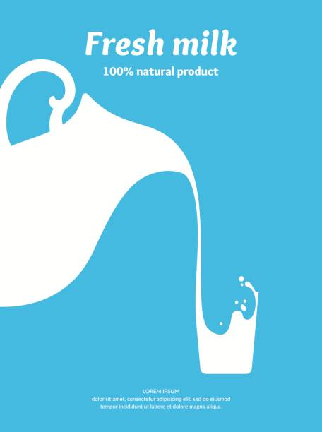 das bild der frischmilch - milch stock-grafiken, -clipart, -cartoons und -symbole