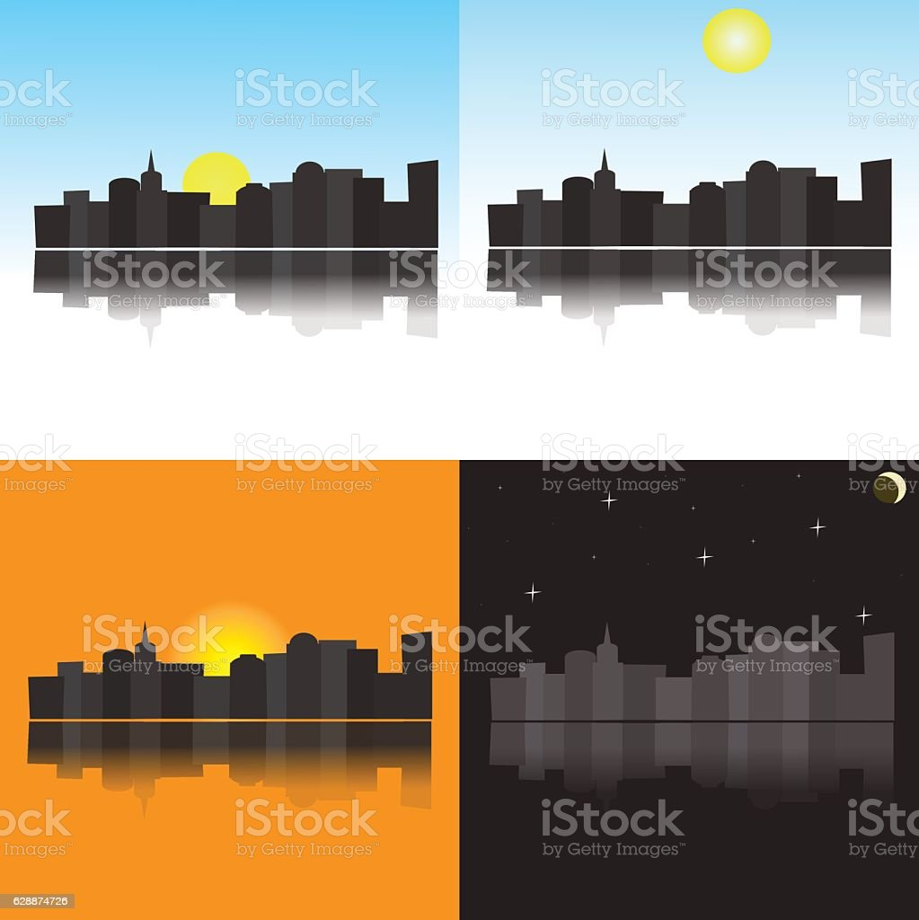 The image of the city at different times of the day vector art illustration
