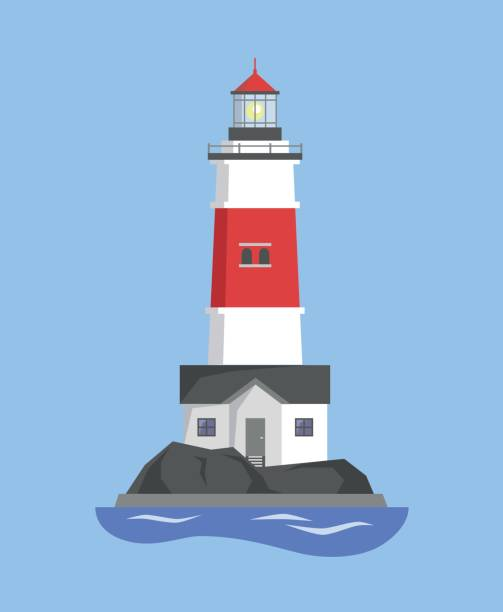 The image of the lighthouse on the mountain The image of the lighthouse on the mountain. Vector illustration. lighthouse stock illustrations