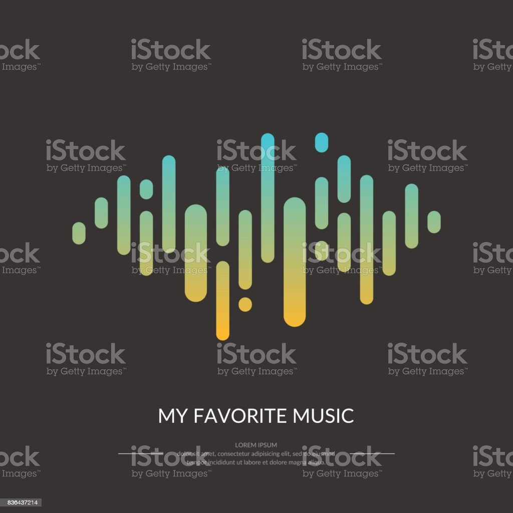 The image of the sound wave vector art illustration