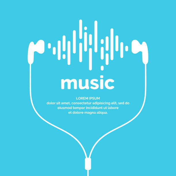 The image of the sound wave The image of the sound wave. Vector illustration. Icon. Track. Song Music headphones stock illustrations