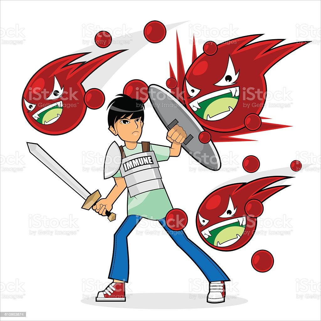 the immune system defend against disease vector art illustration