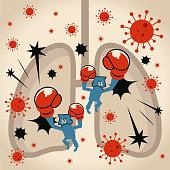 Blue Little Guy Characters Vector Art Illustration. The immune system (scientist, doctor, biochemist) fights against new virus virus coronavirus in human lungs.