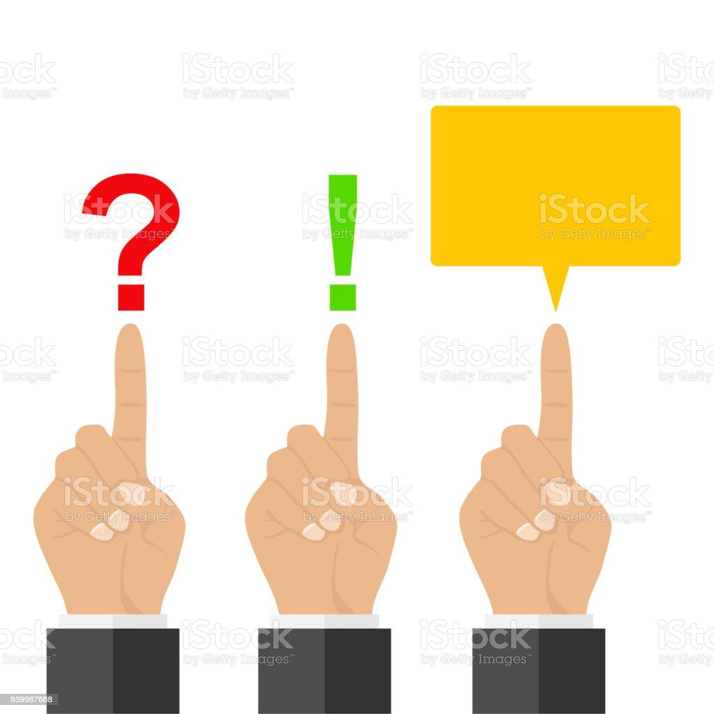 Bir Soru Işareti ünlem Işaretiyle Bir Işaret Parmağı Ile Işaret
