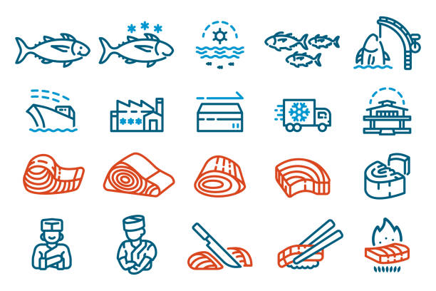 ilustrações de stock, clip art, desenhos animados e ícones de the industry produces tuna for sale to supermarket and restaurants. icon for a seafood product features and production process. - raw steak