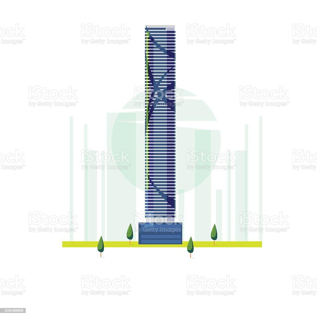 The Infinity Tower, Brisbane, Australia. famous building vector art illustration