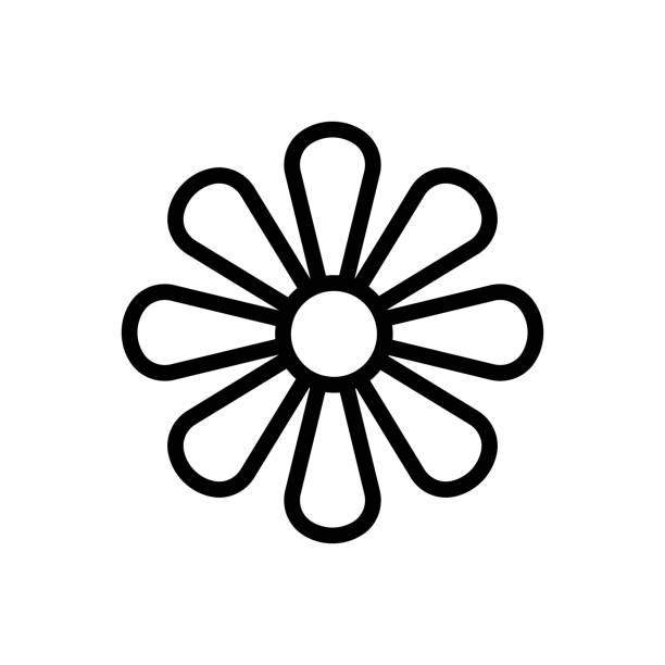 der blütenstand der chrysantheme-symbol-vektor-umriss-illustration - blütenstand stock-grafiken, -clipart, -cartoons und -symbole