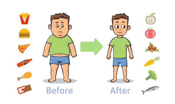 ilustrações de stock, clip art, desenhos animados e ícones de the influence of diet on the weight of the person. young man before and after diet and fitness. weight loss concept. fat and thin man. healthy and unhealthy food. vector illustration, isolated. - criança perdida