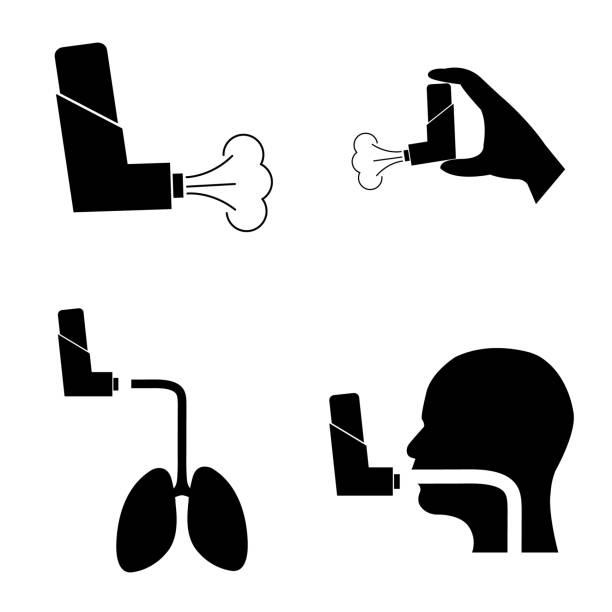 The inhaler icon on a white background The inhaler icon on a white background smoke inhalation stock illustrations