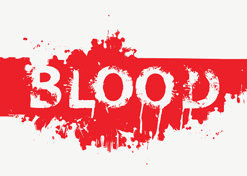 the inscription BLOOD in terrible bloody letters