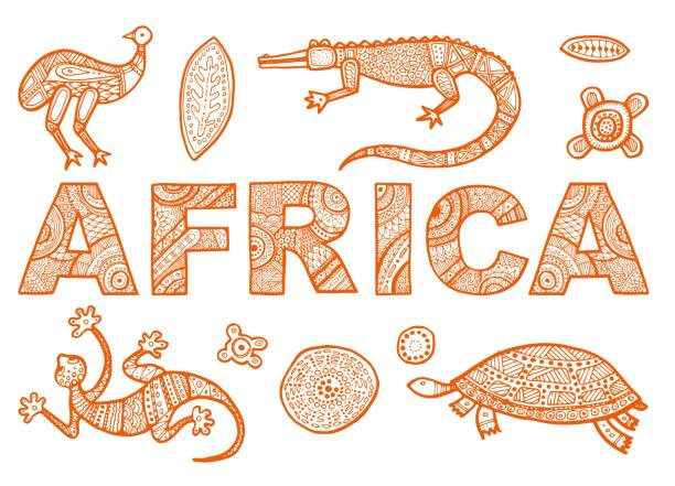 The inscription of AFRICA in ethnic style and Sketches of African animals vector art illustration