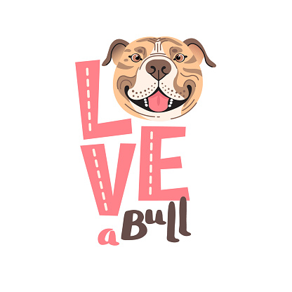 The inscription on the t-shirt of the owner of the dog Pitbull. Word LOVE with a American Staffordshire Pit Bull Terrier face. Vector illustration