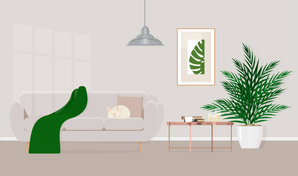the interior design is simple, cozy living room with sofa, coffee table. vector flat illustration - living room stock illustrations, clip art, cartoons, & icons