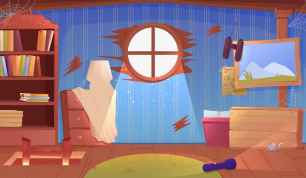 das innere des dachbodens. eine alte vergessene raum mit kisten auf dem dach. lampe und bilder und treppen nach oben - dachboden stock-grafiken, -clipart, -cartoons und -symbole