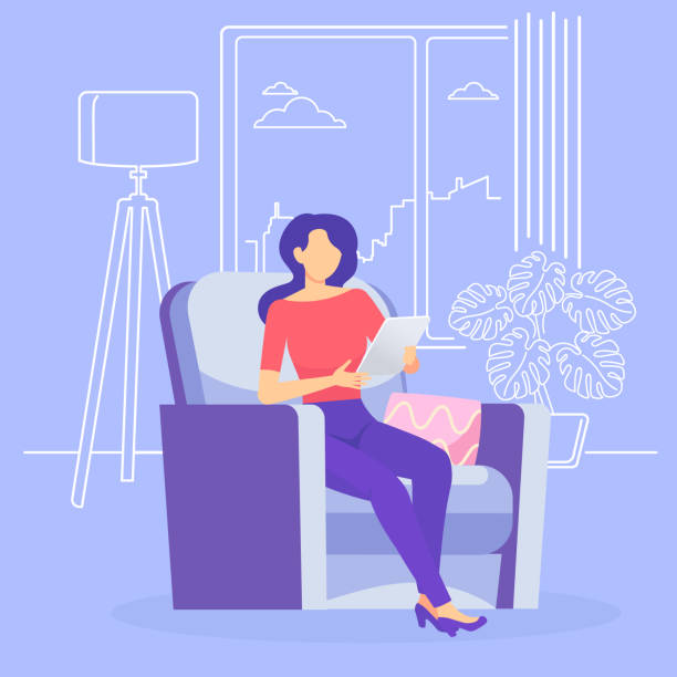 the interior of the living room with an armchair. - working from home stock illustrations
