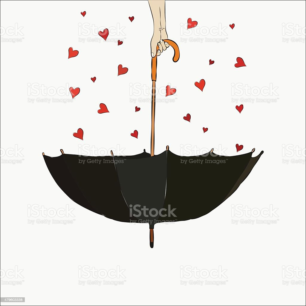 The inverted umbrella with hearts. Valentine's Day. vector art illustration