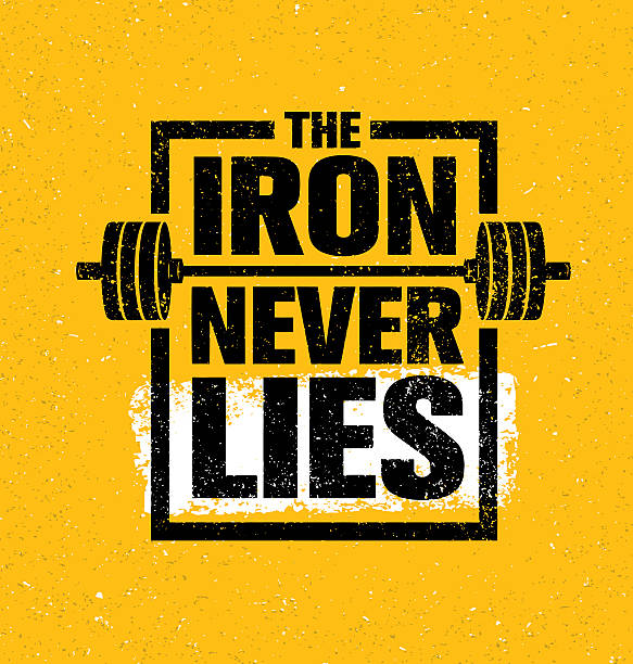 The Iron Never Lies. Workout Powerlifting Gym Motivation Sign Concept - Illustration vectorielle