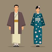 The Japanese national costume. Vector illustration