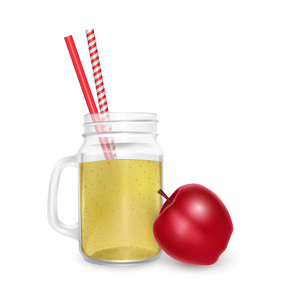 The jar of smoothies of red apple with striped straw for cocktails isolated on white background for advertising your products drinks in restaurants and cafes.