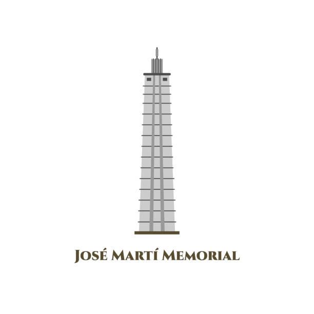 мемориал хосе марти. расположен на северной стороне площади революции. национальный герой кубы памятник хосе марти. прикосновение истории  - unesco stock illustrations