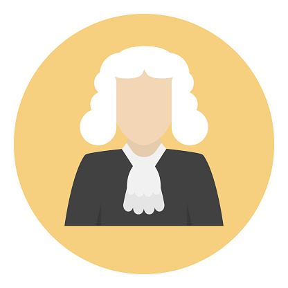 The judge icon clipart vector in illustration of law concept free vector