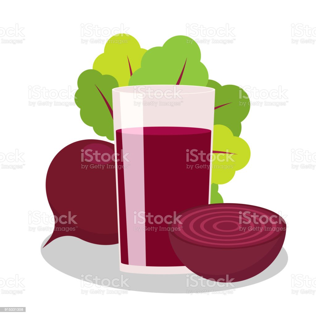 The juice of beet on white background. Vegetable whole and half. vector art illustration
