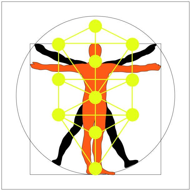 El árbol de la vida del Cábala y Leonardo da Vinci Vitruvio hombre vector icono símbolo diseño. Ilustración, aislado sobre fondo blanco. Hombre de Vitruvio de Leonardo da Vinci simplificado muestra. Glifo principal de los Qabalistas. - ilustración de arte vectorial
